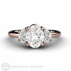 Moissanite Engagement Ring Forever Brilliant Moissanite Ring Oval 3 Stone Three Stone Engagment by RareEarth, $1840.00