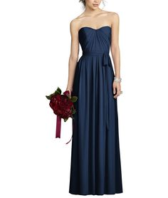 Description - After Six Style 6678 - Full length bridesmaid dress - Strapless sweetheart neckline - Pleated bodice - Pleated full skirt - Matching sash at natural waist - Optional spaghetti straps inc