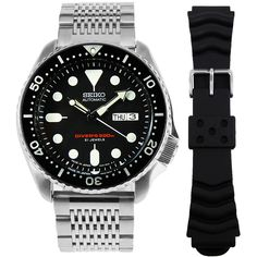 Seiko Analog Watch with extra strap Seiko Automatic Watches, Seiko Watches, Sport Watches, Watches For Men, Authentic Watches, Seiko Diver, Seiko Men, Swiss Army Watches, Watches