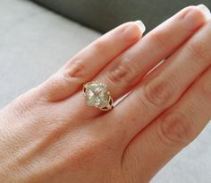 Antique Green Amethyst Diamond Ring Mint Emerald by PenelliBelle