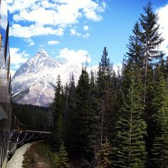 Viewing the Canadian Rockies by train.