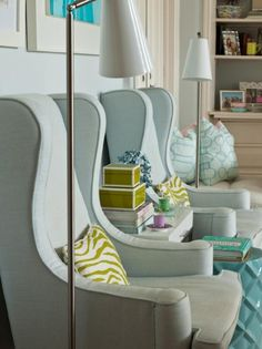 living room, accent chair, interiors, wingback chair