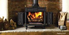 Wood burning stoves - expert guide on how to buy, how to install and how to use. advice to help you pick the right log burner or multi-fuel stove. Wood, Home, Home Fireplace, Fireplace Showroom, Fireplace Kits, Brick Decor, Stove, Wood Burning Fireplace, Wood Stove