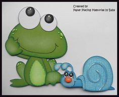 Frog and Snail Set Premade Paper Piecing Die Cut for Scrapbook Page by Babs
