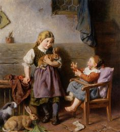 """""""Playing With Rabbits"""" -- Felix Schlesinger (1833 – 1910, German)"""