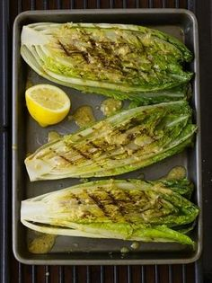 Grilled Romaine Hearts with Caesar Vinaigrette from USA Weekend