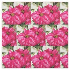 Pink and White Poinsettias Floral Fabric - holidays diy custom design cyo holiday family