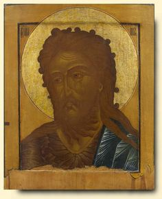 Saint John the Forerunner - exhibited at the Temple Gallery, specialists in Russian icons Russian Icons, Orthodox Icons, Saints, Images, Carving, Christian, Gallery, Saint John, Painting
