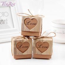 FENGRISE 50 יחידות קופסא ממתקי לב מתנות חתונה לאורחים תיבות קראפט עם כפרי בציר חתונה טובות קישוט חוט יוטה(China (Mainland))