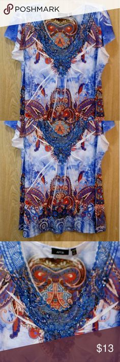 Apt. 9 - Beautiful blue top Features gorgeous blue collar embellishments Apt. 9 Tops Blouses