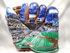 """Hand painted mural of Dodger Stadium on a 1940's era Baseball Glove by Artist """"George Lopez""""  This is truly an artistic Masterpiece and a Beautiful Work of Art that captures in detail a night out under the lights at the Ballpark. -View 3"""