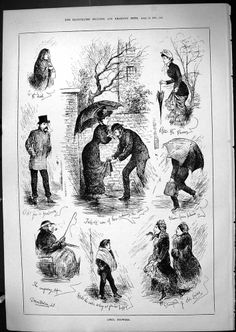 Antique Print of 1881 April Showers Romance Transport Umbrellas