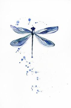 This is ORIGINAL watercolor painting shows a little blue dragonfly. I hope you enjoyed this w Watercolor Dragonfly Tattoo, Dragonfly Drawing, Dragonfly Painting, Dragonfly Tattoo Design, Dragonfly Art, Watercolour Butterfly, Tattoo Designs, Watercolor Illustration, Watercolor Paintings