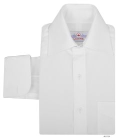 Luxire dress shirt constructed in White Poplin / Plain Weave: http://custom.luxire.com/products/white-poplin-plain-weave-80-2  Consists of semi-spread collar with 3.5″ collar points, 0.5″ tie space, 2″ front collar band height, 2.5″ rear collar band height with 2 button closure and french cuffs.