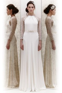 I like the 2-tone effect...Wedding dress with beaded sleeves from Jenny Packham, Spring 2013