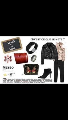 Rock et romantique. #cuir #fleurs #boots 2minutesjemhabille.fr