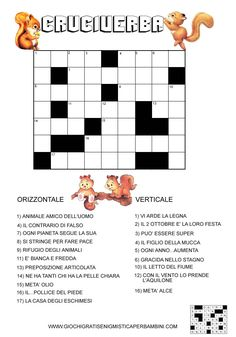 cruciverba per bambini di 7 o 8 anni con scoiattoli crossword puzzle for children aged 7 or 8 with squirrels Token Economy, Good Grammar, Crossword Puzzles, Learning Italian, Baby Boy Shoes, Escape Room, Learning Tools, Creative Kids, Kids Decor