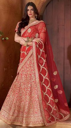 Graceful Red Banarasi Raw Silk Floral Work Lehenga Choli