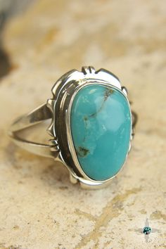 Aqua Blue Turquoise Navajo Sterling Silver Ring by Edward Secatero - Turquoise Skies