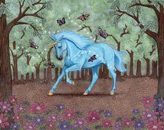 Unicorn Butterfly Magic Zentangle Inspired Watercolor Original 8x10 ART Goeben  #Realism