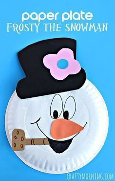 Paper Plate Frosty the Snowman Craft - Winter craft for kids to make | http://CraftyMorning.com