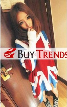 Fashion Women's Oversize Pullover Sweater with Flag Pattern on Buytrends.com, only price $26.49