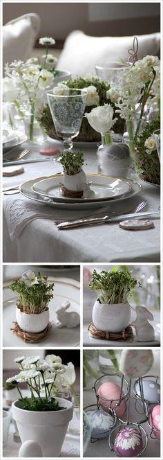 Stilvolle Tischdekoration in weiß. Mit selbst ausgesäter Kresse für den Frischekick.