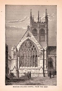 1900 Wood Engraving Merton College Chapel Gothic Oxford Early English XGCA4
