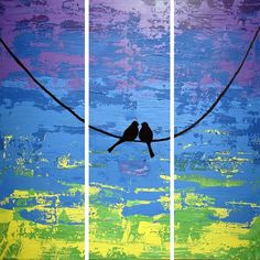 extra large wall art triptych love bird on a wire abstract painting triptych canvas purple wall art abstraction contemporary art 48 x 3 Panel Wall Art, Triptych Wall Art, Canvas Wall Art, Large Painting, Hand Painting Art, Painting Canvas, Bird Paintings, Purple Wall Art, Original Paintings For Sale