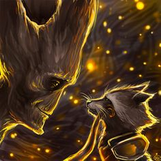 pic of groot with fireflies art - Google Search