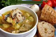 Buckwheat soup with mushrooms and potato dumplings / Amazing Cooking Casserole Recipes, Soup Recipes, Cooking Recipes, Cooking Food, Breakfast Casserole With Biscuits, Buckwheat Recipes, Hungarian Recipes, Mushroom Recipes, Us Foods