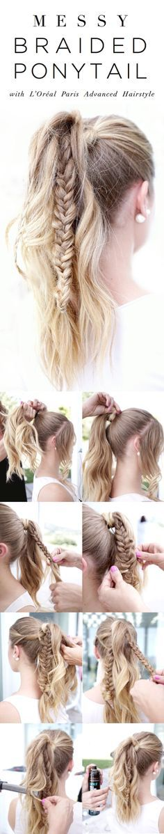 Wavy, braided ponytail for long hair on /Vogueinvines/. 1 Gather hair into high ponytail. 2 Gather small piece of hair from underneath, wrap around base of ponytail, and secure with bobby pin. 3 Gather small section of hair on one side of ponytail and braid all the way down. 4 Using fingers, pull on braid to widen. 5 Repeat with another section of hair on other side. 6 With a ribbon curling iron, curl small sections of hair throughout ponytail. 7 Finish with Lock It Weather Control…