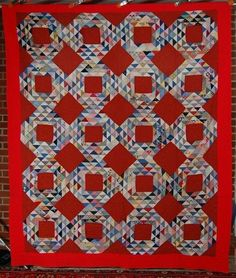 DAZZLING Vintage 40's Ocean Waves Antique Quilt ~NICE VIBRANT RED BACKGROUND!