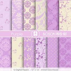 Purple Digital Paper, Wedding Paper Pack, Violet Damask Digital Paper Pack, Floral digital backgrounds, Floral, Damask Papers -1684