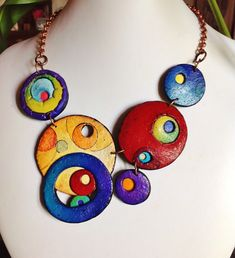 """https://flic.kr/p/tN8dXd   """"Colorful worlds"""", polymer clay necklace"""