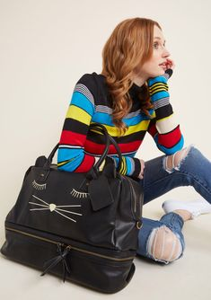 From the security checkpoint to the airport cafe, your black weekend bag will be met with smiles from all on your route! With its adorable ears, embroidered. Look Fashion, Spring Fashion, Womens Fashion, Cute Purses, Purses And Bags, Unique Handbags, Best Gifts For Her, Bags Online Shopping, Cute Bags