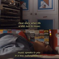 When life is shit, do you listen to sad music or happy? Cinema Quotes, Film Quotes, Music Quotes, Sad Movie Quotes, Quotes Deep Feelings, Mood Quotes, Aesthetic Words, Disney Songs, Disney Quotes