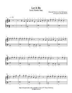 Let It Be by The Beatles Piano Sheet Music | Rookie Level