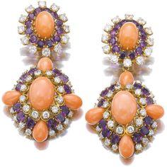 brincos de diamantes , corais e ametistas Liz Taylor