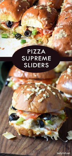 Pizza Supreme Sliders All the classic pizza supreme goodies put into sliders, but a killer sauce that coats the buns as they bake. Great crowd pleaser for parties or game day! Quesadillas, Pizza Slider, Bento, Slider Sandwiches, Hot Dogs, Supreme Pizza, Minions, Instant Pot, Slider Recipes