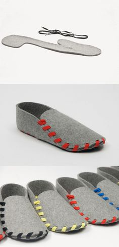 a visual how-to: Designer Gaspard Tiné-Berès the Lasso shoes, made from 5mm thickness of wool felt and a shoelace.
