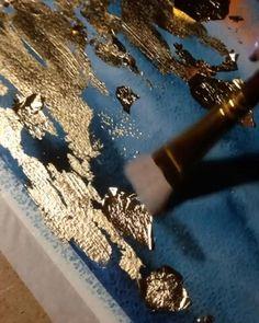 Abstract Painting Techniques, Art Techniques, Painting Abstract, Diy Canvas Art, Diy Wall Art, Abstract Portrait, Portrait Watercolour, Glitter Wall Art, Feuille D'or