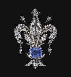"""Diamante e safira """"Fleur de Lys"""" broche. 1880"""