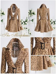 leopard printed belted pleated coat LOVE!