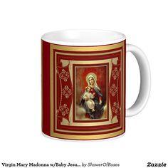 Virgin Mary Madonna w/Baby Jesus Rosary Classic White Coffee Mug