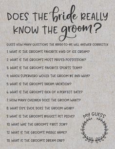 Bridal shower games 152489137372039606 - Grey How Well Does the Bride Know the Groom Bridal Shower Game . How Well Does the Bride Know the Groom ? Bridal Shower Games Source by SayIDoPrintables Fun Bridal Shower Games, Bridal Shower Planning, Bridal Games, Wedding Games, Couples Wedding Shower Games, Lingerie Shower Games, First Dance Wedding Songs, Funny Wedding Vows, Wedding Song List