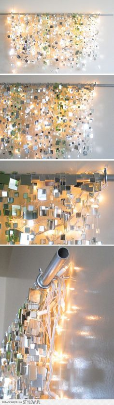DYI Play on light with mirrors, metal plates, rope lights. Wow! I am wondering what it would look like with color lights or different color metal plates. This is gorgeous and a show - stopper for sure.