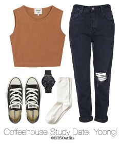 Coffeehouse Study Date: Yoongi by btsoutfits on Polyvore featuring polyvore fashion style Samuji Topshop Banana Republic Converse clothing