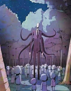 Slenderman and the kiddos Jeff The Killer, Creepy Stories, Horror Stories, Creepy Art, Scary, Creepy Stuff, Creepypasta Slenderman, Creepy Monster, Creepy Pasta Family
