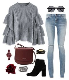 """let's stay warm"" by abigaillieb on Polyvore featuring Chicwish, Yves Saint Laurent, Witchery, McQ by Alexander McQueen, MANGO, Lancaster, FOSSIL and Balenciaga"